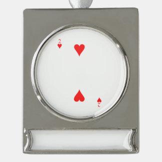 2 von Herzen Banner-Ornament Silber