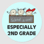 2nd Grade School is Cool Tshirts and Gifts Round Stickers