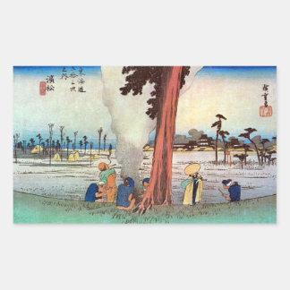30. 浜松宿, 広重 Hamamatsu-juku, Hiroshige, Ukiyo-e Rechteckige Sticker