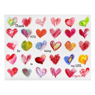 30 danke Valentinsgruß-Herz-Postkarte Postkarte