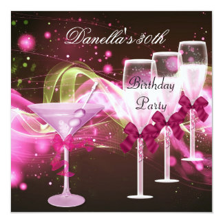 30. Geburtstag rosa Martini Champagne Quadratische 13,3 Cm Einladungskarte