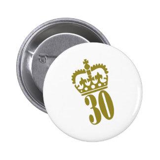 30. Geburtstag - Zahl - dreißig Runder Button 5,7 Cm