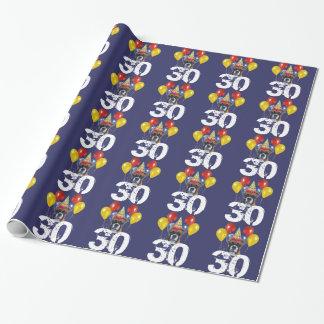 30. Geburtstags-Boxerhundeblaues Geschenkpapier