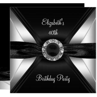 30. Geburtstags-Diamant-Bild-Schwarz-weißes Silber Karte