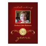 30. Geburtstags-Einladungen - Rot u. Goldmonogramm