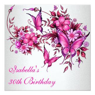 30. Geburtstags-elegantes rosa Quadratische 13,3 Cm Einladungskarte
