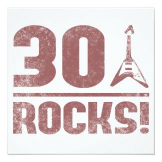 30. Geburtstags-Felsen Quadratische 13,3 Cm Einladungskarte