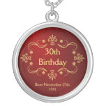 30. Geburtstags-Halskette - Vintager Rahmen-Anhäng