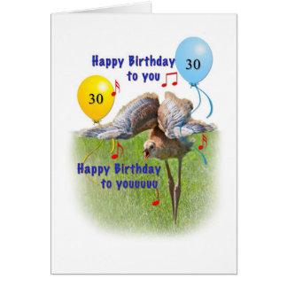 30. Geburtstags-Karte mit Sandhill Kran-Vogel Karte
