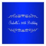 30. Geburtstags-Kobalt u. silbernes Blumenmetall Individuelle Einladung