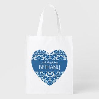 30. Geburtstags-modischer blauer Damast A01 Wiederverwendbare Einkaufstasche