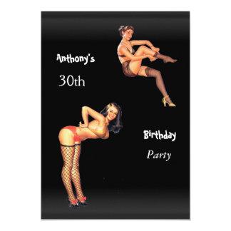 30. Geburtstags-Party Button-oben Mädchen 12,7 X 17,8 Cm Einladungskarte