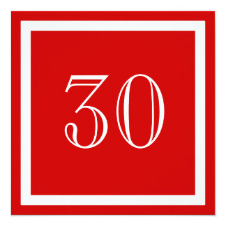 30. Geburtstags-Party Einladung - Rot