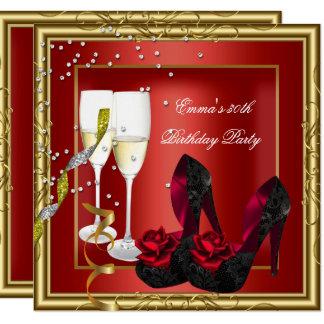 30. Geburtstags-Party-rotes Goldschwarzes Karte