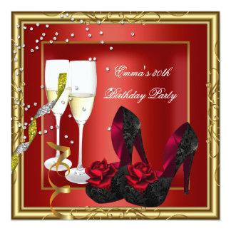 30. Geburtstags-Party-rotes Goldschwarzes Quadratische 13,3 Cm Einladungskarte