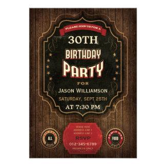 30 Geburtstags-Vintage Tafel u Holz Einladungskarten
