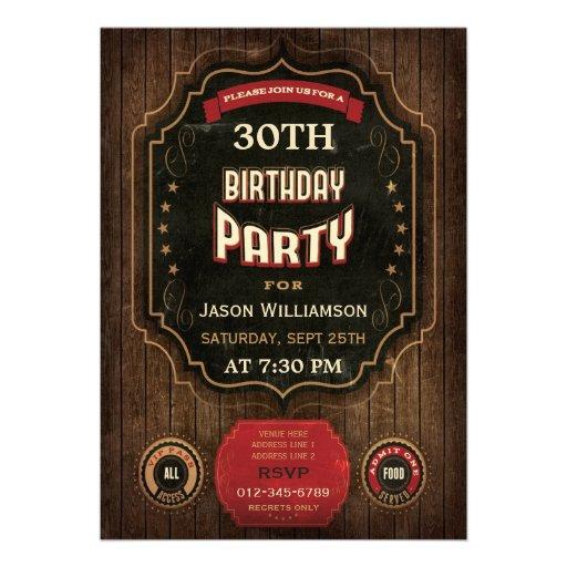 30. Geburtstags-Vintage Tafel u. Holz Einladungskarten