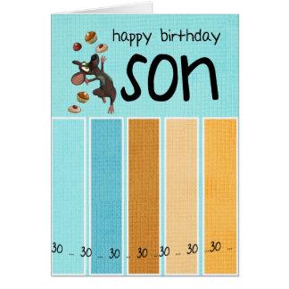 30. Geburtstagskarte des Sohns mit Kuchen und Maus Karte