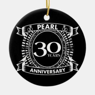 30. Hochzeitsjahrestags-Perlen-Wappen Keramik Ornament