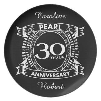 30. Hochzeitsjahrestags-Perlen-Wappen Teller
