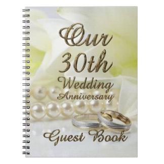 30. Hochzeitstag-Gast-Buch-Goldperlen Notizbuch