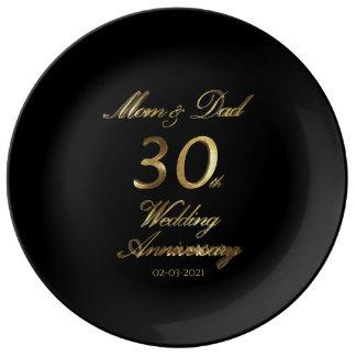 30. Perlen-Hochzeitstag-Typografie elegant Teller