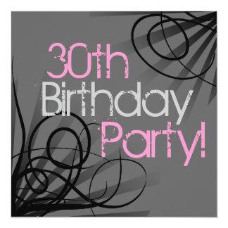 30 rosa Holzkohlen-Strudel-Gewohnheits-Einladungen Quadratische 13,3 Cm Einladungskarte