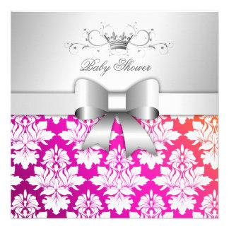311 Baby-Dusche des Weiß-BlackBerry-Damast-Sunset Individuelle Ankündigungen