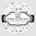 311 Divine Gray Hearts Cupcake Sticker