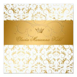 311-Golden erahnen weißen Freuden-Bonbon 16 Quadratische 13,3 Cm Einladungskarte