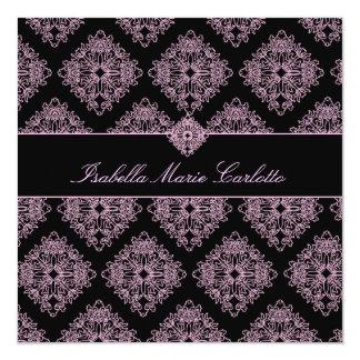 311-Isabella rosa und schwarze Damast-Einladung Quadratische 13,3 Cm Einladungskarte