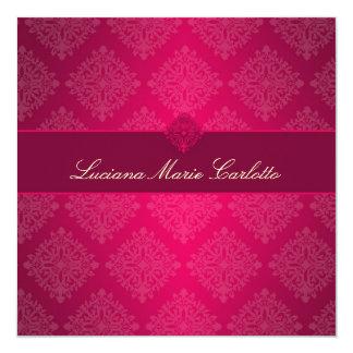 311 Luciana-Pink verblaßt Damast-Einladung Quadratische 13,3 Cm Einladungskarte