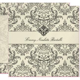 311-Metallic Emmy Sahnedamast-Einladung Quadratische 13,3 Cm Einladungskarte