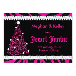 311 Pink-Zebra Jeweled Baum 11,4 X 15,9 Cm Einladungskarte
