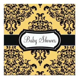 311 reizende Dovey Damast-Babyparty kanariengelb Quadratische 13,3 Cm Einladungskarte
