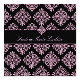 311 rosa und schwarze Damast-Einladung Teodora Quadratische 13,3 Cm Einladungskarte