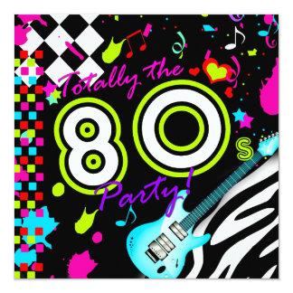 311 total das 80er Party - Türkis-Gitarre Quadratische 13,3 Cm Einladungskarte