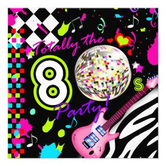 311 total der 80er Party-Rosa-Gitarren-Disco-Ball Personalisierte Einladungskarte