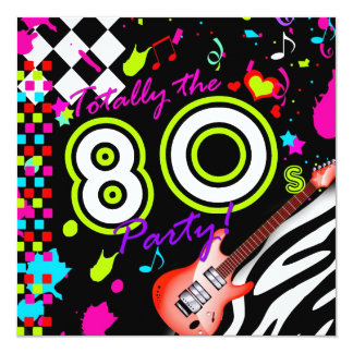 311-Totally das 80er Party - rote Gitarre Quadratische 13,3 Cm Einladungskarte