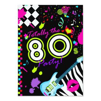 311-Totally das 80er Party - Türkis-Gitarre 12,7 X 17,8 Cm Einladungskarte