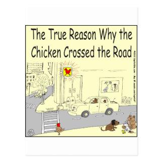 315 warum Huhn den Straßen-Cartoon kreuzte Postkarte