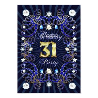 31. Geburtstags-Party laden mit Massen der Juwelen 12,7 X 17,8 Cm Einladungskarte