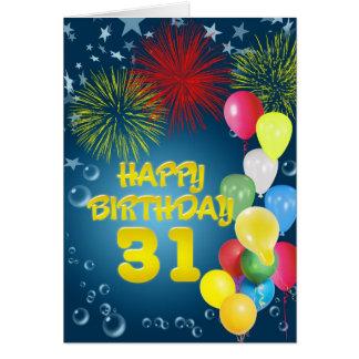31. Geburtstagskarte mit Feuerwerken und Ballonen Grußkarte