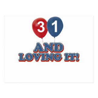 31 und Lieben es Postkarte