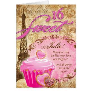 323 16. Geburtstag Geburtstags-Eiffel-Turm-kleiner Mitteilungskarte