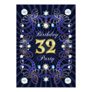 32. Geburtstags-Party laden mit Massen der Juwelen 12,7 X 17,8 Cm Einladungskarte