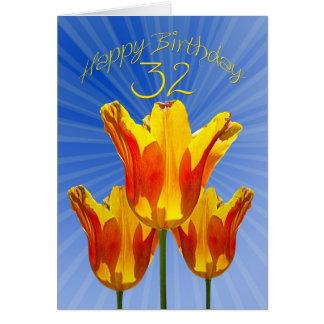 32. Geburtstagskarte, Tulpen voll des Karte