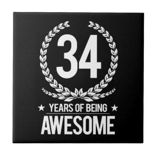 34. Geburtstag (34 Jahre des Seins fantastisch) Fliese