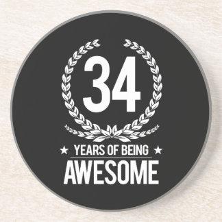34. Geburtstag (34 Jahre des Seins fantastisch) Sandstein Untersetzer