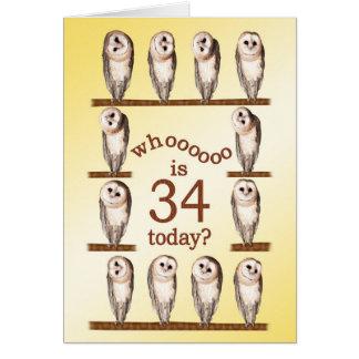 34. Geburtstag, neugierige Eulenkarte Karte